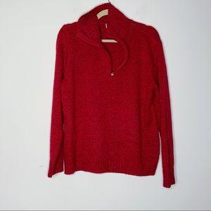KAREN SCOTT red pullover sweater. Front zip up. L